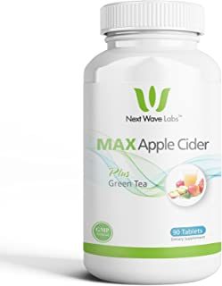 Next Wave Labs Max Apple Cider, 500mg of Apple Cider Vinegar to Aid Digestion, Internal Cleansing + Green Tea and Citrus Aurantium to Assist Weight Management 45 Servings