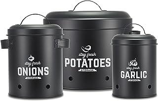 Supremery Set de boîtes de conservation I Parfait comme pot de pommes de terre, pot à ail et pot à oignons | Boîtes de ran...