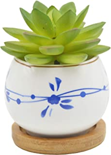 Cute Colorful Japanese Style Ceramic Succulent Cactus Flower Plant Pots with Bamboo Tray (Plant Not Included)