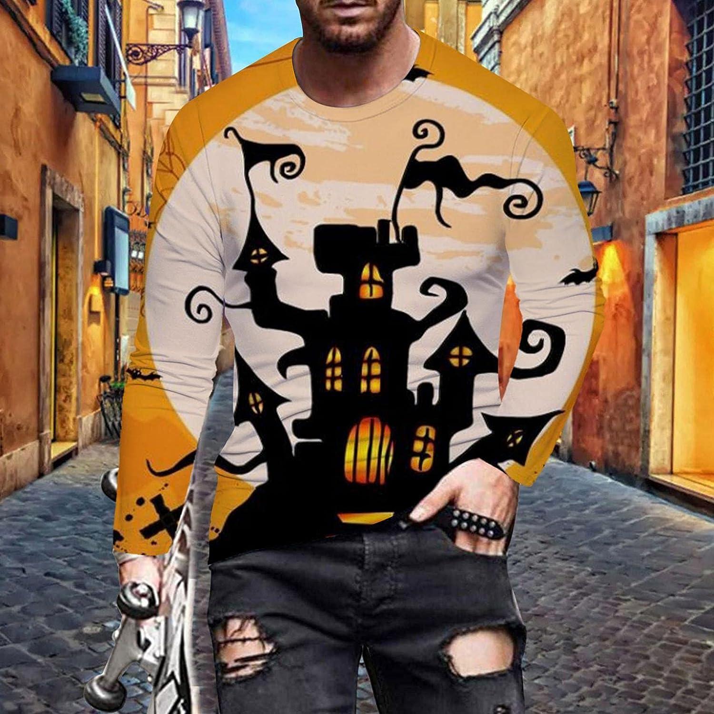 Shirts for Men Men's Halloween Funny 3D Digital Printed T-shirt Long-sleeve Tee Mens Shirts Top Blouse Polo Mens Shirts