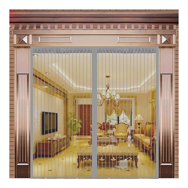 飾るオーラル早める網戸 マグネット 大 網戸カーテン 夏 ホームパーティション 磁気 無料パンチング 寝室のカーテン ミュート マジックテープ 自動クローズ 網戸 マグネット式 (Color : Grey Strips Gate, Size : 120x220cm)