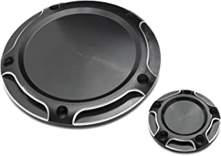 Senkauto Black Clarity Derby Timer Cover and Points Covers for Harley 1999-2014 Harley Twin Cam Touring Road King Electra Glide FLHR FLHX FXST Dyna