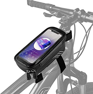 Bike Phone Mount Frame Bag, Bike Cell Phone Holder Handlebar Pouch, Road Bicycle Cycling Top Tube Bag with Touch Screen fo...