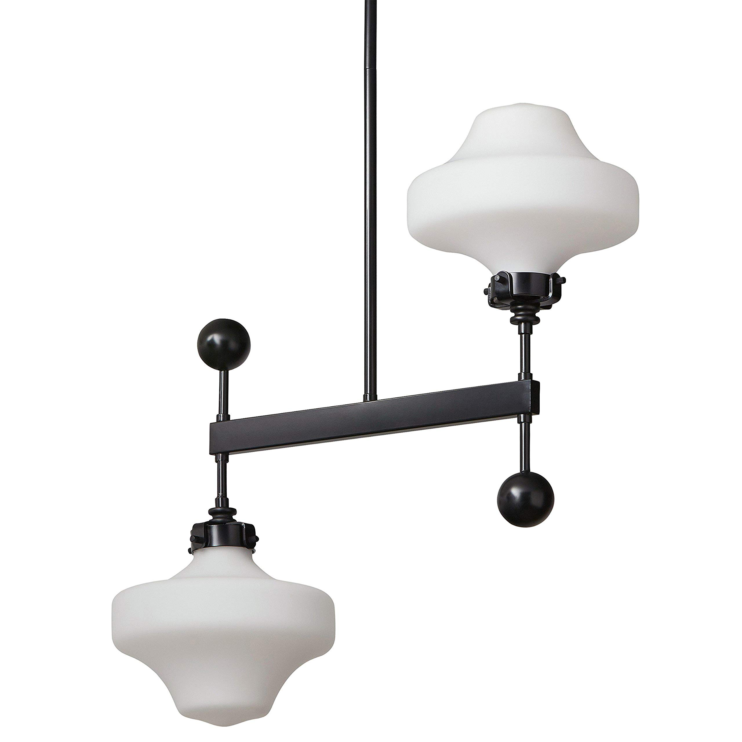 Amazon Brand Stone Beam Schoolhouse Ceiling Pendant Chandelier Fixture With 2 Light Bulbs With Glass Milk White Shade 21 X 8 X 53 Inches 42 Inch Cord Black Amazon Com
