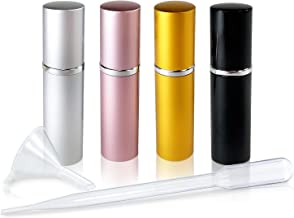 Refillable Perfume & Cologne Fine Mist Atomizers with Metallic Exterior & Glass Interior - Portable Travel Size - 3ml Sque...