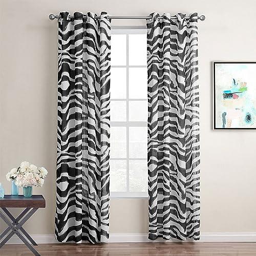 Gwell 1 Pièce Zebra Rideaux Demi Transparent Noir Et Blanc Pour Fenêtre  Chambre Salon Cuisine 220x140