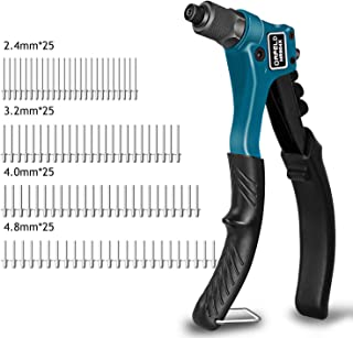 Orfeld Rivet Gun, Single Hand Manual Rivet Gun Kit With 4 Interchangeable Color Coded Heads, 100 Piece Rivets, 4 in 1 Hand Riveter Set for Plastic, Metal, Leather, Large & Small Jobs