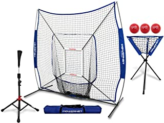 PowerNet 7x7 DLX Practice Net + Deluxe Tee + Ball Caddy + 3 Pack Weighted Ball + Strike Zone Bundle | Baseball Softball Coach Pack | Pitching Batting Training Equipment Set | 7' x 7'