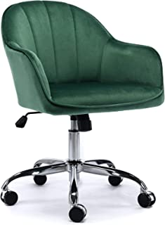 J&L Furniture Modern Design Velvet Office Desk Chair Mid-Back Home Office Chair Swivel Adjustable Task Chair Executive Accent Chair with Soft Seat (Green)
