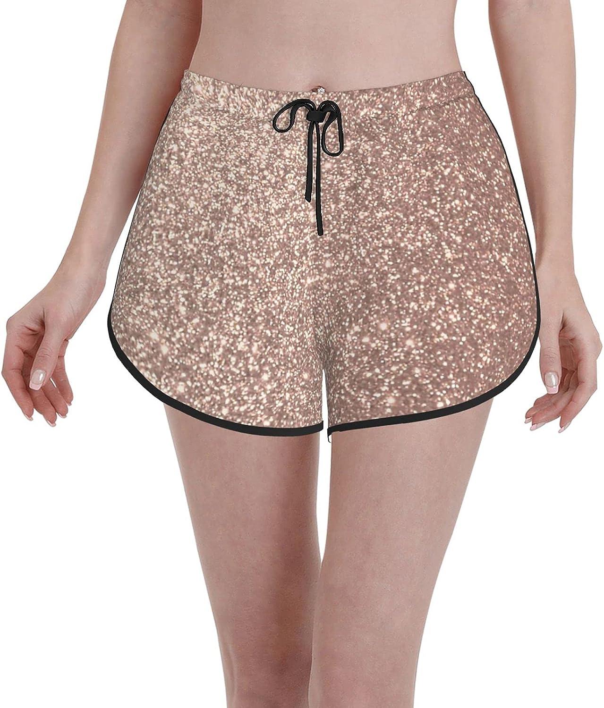 Minalo Women's Girl's Swim Trunks,Rose Sequins,Beachwear Swimsuits Board Shorts Bathing Suits,L