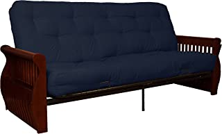 Laguna 8-Inch Loft Inner Spring Futon Sofa Sleeper Bed, Full-size, Mahogany Arm Finish, Twill Navy Blue Upholstery