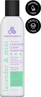 Aweganics Lavender Mint Hair Shampoo - AWE Inspiring Natural Aromatherapy Invigorating Purple Shampoos - Hydrating, Cleansing, Moisturizing - Paraben-Free, Cruelty-Free, Peppermint, Tea Tree
