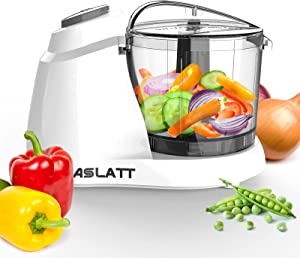ASLATT Mini Food Processor Small Chopper ,Veggie Food Chopper Vegetable Cutter Electric Puree Dicer Blender Machine for Garlic Tomato Onion Cortador Picador De Vegetales Electrico