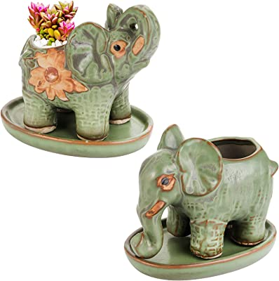 Bekith 2 Pack Elephant Shaped Succulents Planter Pots withSaucer, Indoor Ceramic Flower Plants Pot with Porcelain Tray, Drainage Hole for Snake Plants, Jade Plant, Herbs, Outdoor Graden Pots