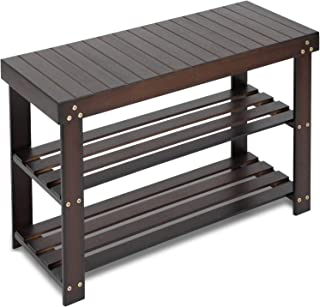Bamboo Shoe Rack Bench, 3-Tier Sturdy Shoe Organizer, Storage Shoe Shelf, Holds up to 220..
