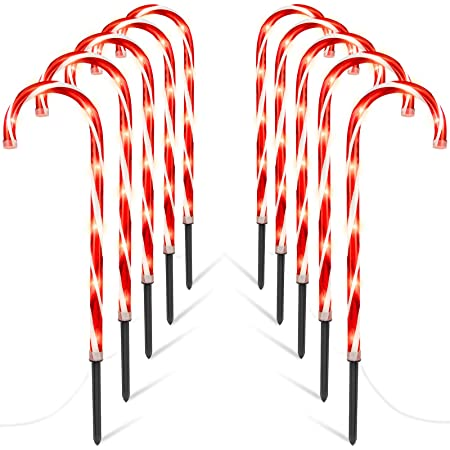 Sanery 10Pcs Christmas Candy Cane Pathway Marker Lights Yard Lawn Pathway Outdoor Decorlights
