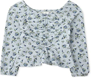 The Children's Place Girls' Long Sleeve Floral Print Peasant Top