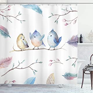 Ambesonne Animal Shower Curtain, Hand Drawn Birds Sitting on Branch Cartoon in Boho Style Watercolors Leaves Feathers, Fabric Bathroom Decor Set with Hooks, 70 inches, Multicolor