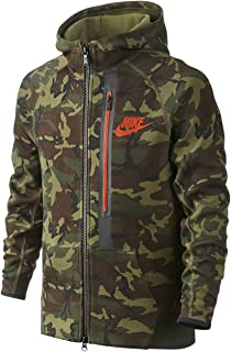 Youth Boys Tech Fleece Allover Print Full-Zip Hoodie Camo Grey
