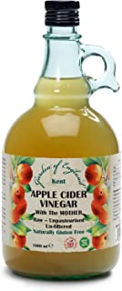 Kent Vinagre de sidra de manzana natural, caja de 2 x 1 l, con madre, cruda, sin pasteurizar, sin filtrar, sin OGM, vegano