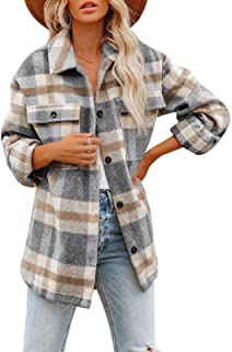 Baonmy Women Plaid Shirt Jacket Flannel Plaid Button Down Shacket Jacket for Women Coat