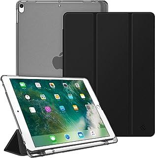 Fintie iPad Air 2019 ケース iPad Air3 10.5インチ ケース/iPad Pro 10.5 2017 ケース バックカバー 三つ折スタンド スリープ機能 軽量 薄型 半透明 傷つけ防止 PUレザー (モデル番号A2152、A2123、A2153、A1701、A1709)(1ブラック)