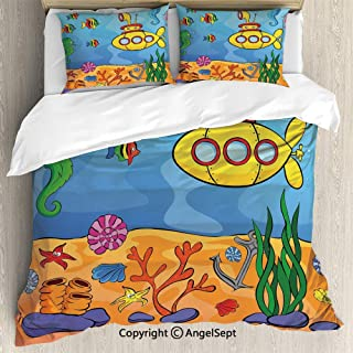 SfeatruAngel Bedding 3-Piece Set Duvet Cover Set,Underwater Theme Submarine Seahorse Starfish and Fish Print,Queen Size,1 Quilt Cover 2 Pillow Shams,Marigold and Aqua