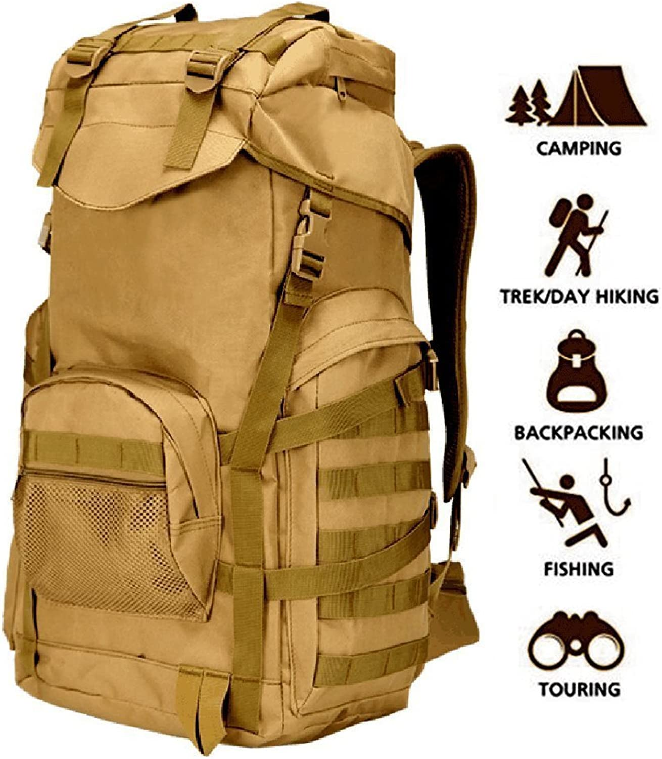 NBLEAGUE 70L Military Tactical Backpack Large Army 3 Day Assault Pack Molle Backpacks Rucksacks for Outdoor Hiking Camping Trekking Hunting