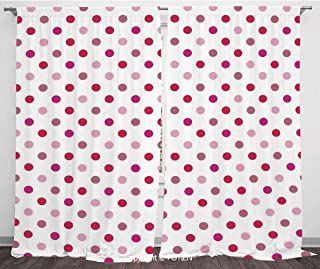 Satin Window Drapes Curtains [ Polka Dots,Polka Dots Pattern Consisting of An Array of Filled Circles Pop Art,Baby Pink Fuchsia White ] Window Curtain Window Drapes for Living Room Bedroom Dorm Room C