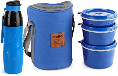Cello Hot Wave Lunch Box Capacity - 225ml, 375ml and 550ml - Lexus Bottle 900ml Combo, Blue