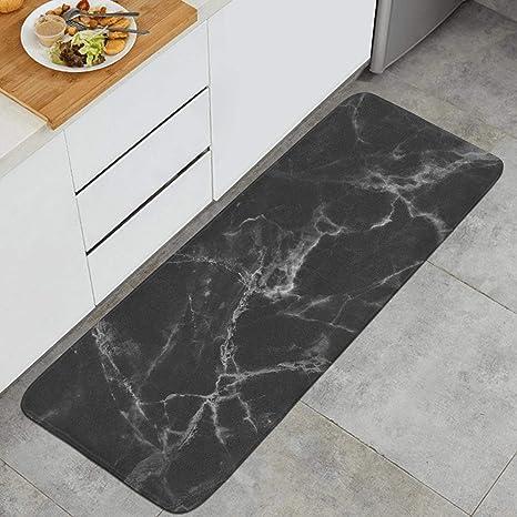 Amazon Com 47 18 Long Kitchen Mat Black White Marble Microfiber Rubber Backing Non Slip Water Absorbent Anti Fatigue Custom Foam Kitchen Rugs Kitchen Dining