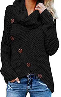 HUUSA Women's Chunky Turtle Cowl Neck Asymmetric Hem Wrap Sweater Coat with Button Details