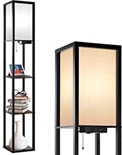 Outon Floor Lamp with Shelves, LED Modern Floor Lamp with USB Port & Power Outlet, Display Storage Wood Standing Lamp with White Linen Texture Shade for Living Room, Bedroom and Office (Black)