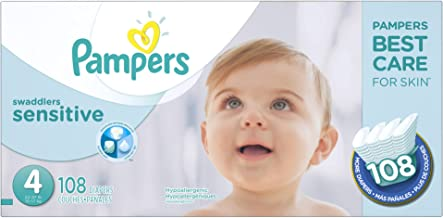 Diapers Size 4, 108 Count - Pampers Swaddlers Sensitive Disposable Baby Diapers, Super Economy