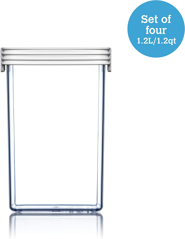 ClickClack Basics Food Storage Display Canister, 1.2 qt, Set of 4