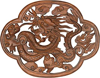 Tribe Azure Fair Trade Dragon Hand Carved Wood Wall Hanging Sculpture Large Art Sculpture Asian Oriental Accents Decorataive Boho Home Decor