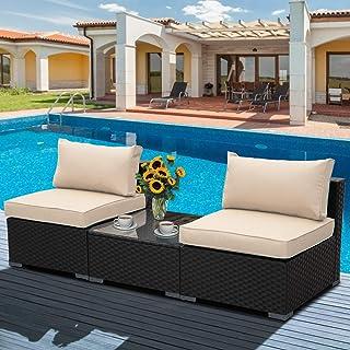 3 Piece Outdoor PE Wicker Furniture Set, Patio Black...