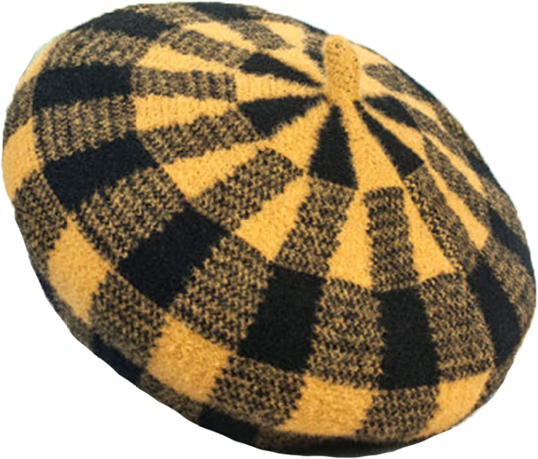 Winter Hat Women's Beret Hats Wool Warm Striped Plaid Painter Cap Wild British Retro Pumpkin Caps Adjustable Hat