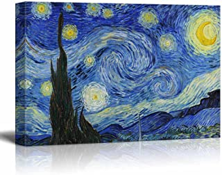 wall26 Canvas Print Wall Art - Starry Night by Vincent Van Gogh Reproduction on Canvas Stretched Gallery Wrap. Ready to Hang - 24