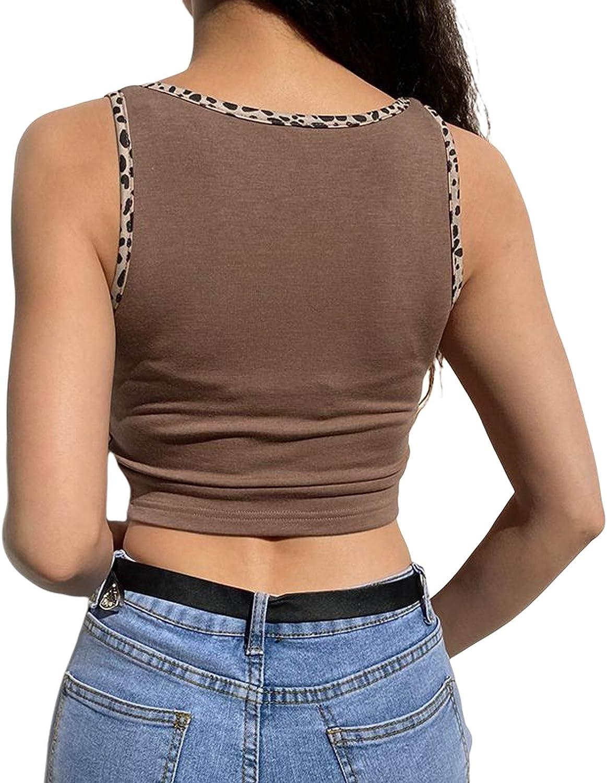 Womens U-Neck Tank Top Heart Leopard Print Vest Sleeveless Slim Crop Top