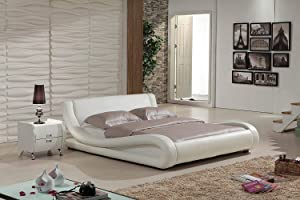 Dona Ivory Faux Leather Modern Platform Bed (Queen)