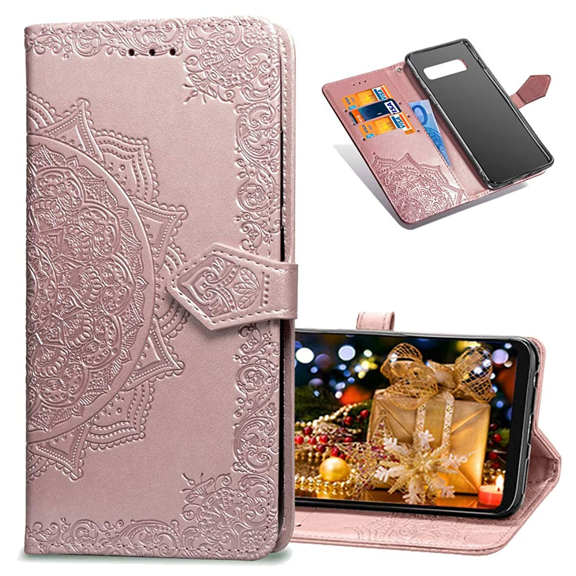 COTDINFORCA Samsung Galaxy S10 Wallet Case, Slim Premium PU Flip Cover Mandala Embossed Full Body Protection with Card Holder Magnetic Closure for Samsung Galaxy S10 (2019). SD Mandala - Rose Gold