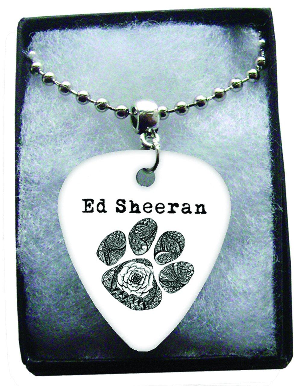 Ed Sheeran negro huellas de metal collar de púa de guitarra cadena ...