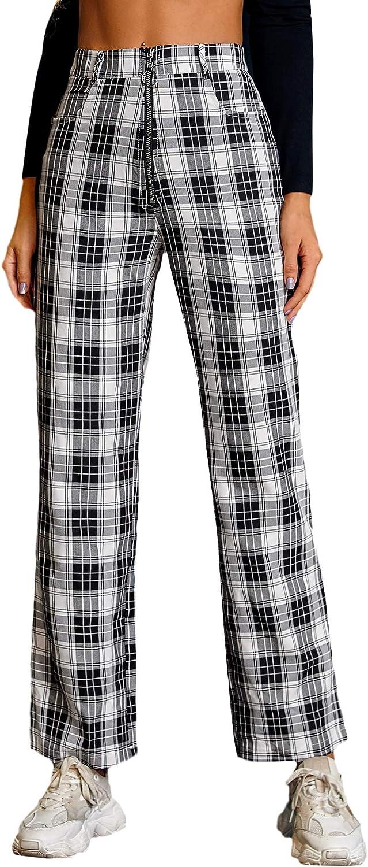 WDIRARA Dealing full price Philadelphia Mall reduction Women's Plaid High Waist Crop Button Casual Trouse Pants
