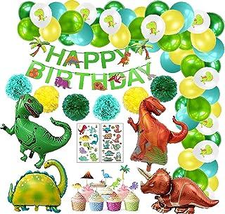 Juego de decoraciones cumpleaños dinosaurio, decoración de cumpleaños para niños Dino, globos papel dinosaurio, pompones p...