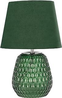 Pauleen 48157 Crystal Lampe Abat-Jour Velours Luminaire à Poser Vert Max 40W E14 230V Verre/Tissu