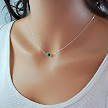 Sterling Silver Turquoise Choker Necklace, Handmade with Dainty Real Turquoise for Women or Girl
