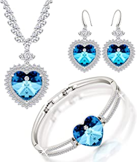 Embellished with crystail from Swarovski Jewelry Set-Blue Heart-Sharped Stone - Pendant Necklace-Earrings-Bracelet for Wom...