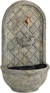 Sunnydaze Messina Outdoor Wall Mounted Water Fountain with Electric Submersible Pump, 26-Inch, French Limestone Finish