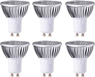 MODOAO 3W GU10 LED Bulbs, Dimmable Spot Light Bulb,Recessed Lighting,110 Volts 30 Degree Beam Angle, 30W Halogen Bulbs Equivalent,300LM,6000K Cool White 6 Pack